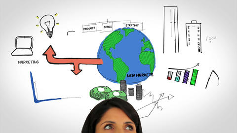 Colored animation showing business plan and a woman observing Animation