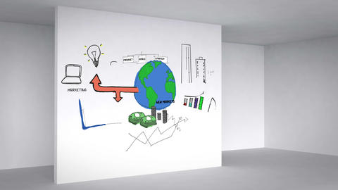 Colored animation showing business plan in 3d room Animation