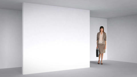 Businesswoman posing in 3d room Animation