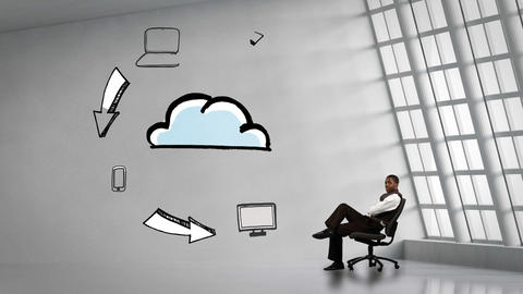 Businessman sitting next to animated electronic devices circling cloud Animation