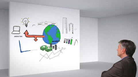 Colored animation showing business plan in 3d room and man watching Animation