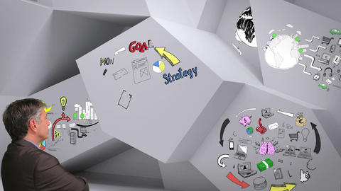 Animation showing business plan cycle in 3d room and man watching Animation