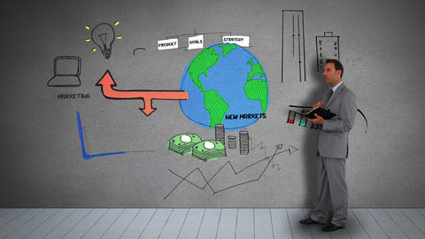 Businessman holding diary watching animated business plan Animation
