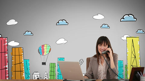 Cheerful businesswoman working in front of animated city Animation