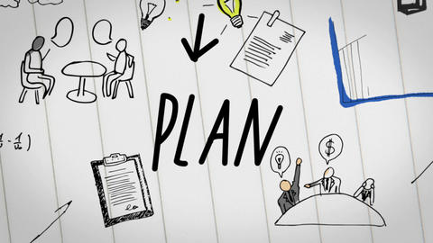 Colored animation of business plan drawn into notepad Animation