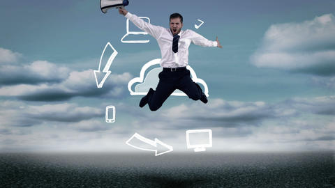 Businessman with megaphone jumping in front of animated cloud computing Animation