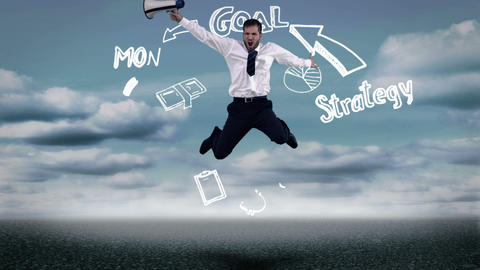 Businessman jumping in front of animated business plan cycle Animation