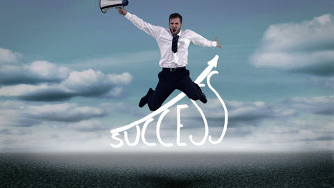 Businessman jumping over success graphic Animation