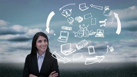 Content businesswoman watching holographic brain having idea Animation