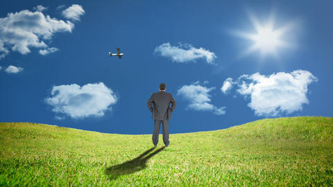 Rear view of businessman standing in grass watching plane Animation