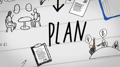 Digital animation of business plan drawn on notebook Animation