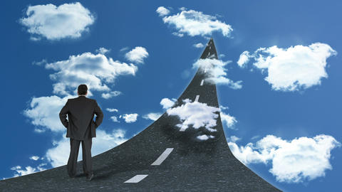 Rear view of businessman standing on street in sky Animation