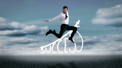 Handsome businessman jumping in front of success graphic Animation