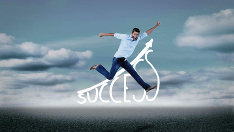 Cheerful casual man jumping in front of success graphic Animation