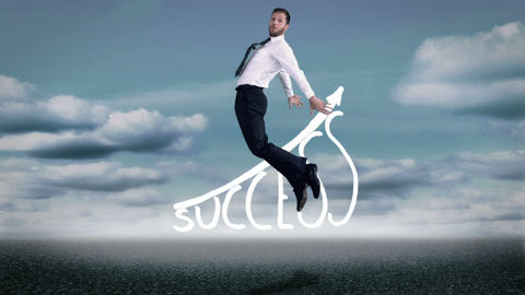 Beautiful young businessman jumping Animation