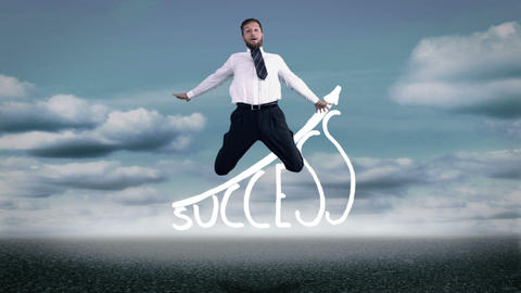 Attractive businessman jumping in front of success graphic Animation