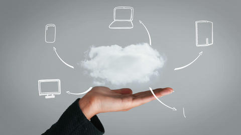 Hand presenting cloud and business plan Animation