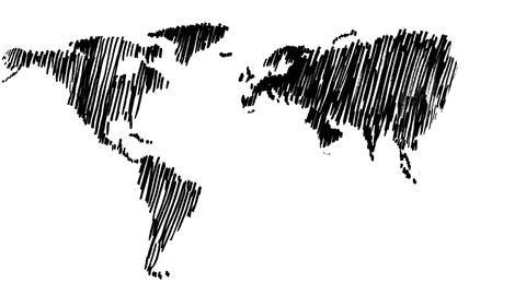 Painting Of World Map stock footage