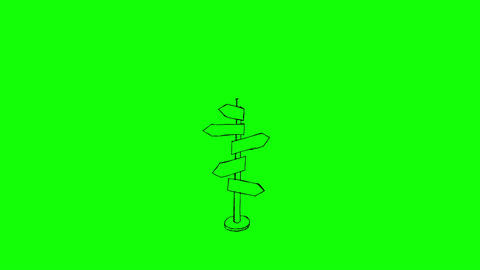 Animation of slowly appearing colourful signpost Animation