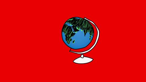 Animation of slowly appearing rotating globe Animation