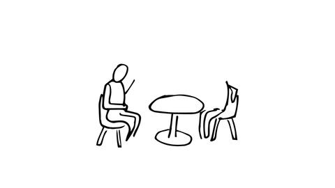 Animation of slowly appearing people chatting sitting at desk Animation