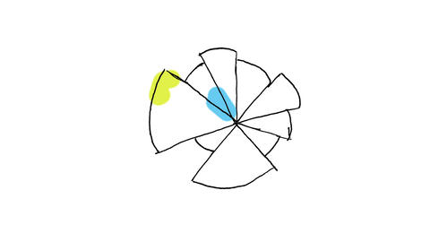 Animation of abstract colourful pie chart Animation