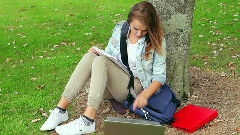 Student studying and leaning against a tree Footage