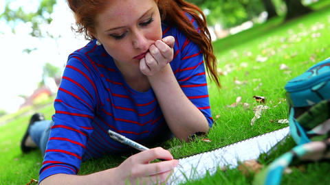 Pretty young student lying on the grass studying Footage