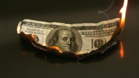 Hundred dollar bill burning Footage
