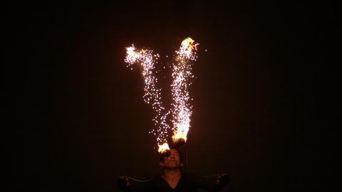 Fire dancer making trails in the dark Footage