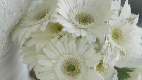 Beautiful bride holding her bouquet of daisies Footage