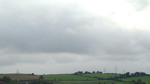 Peaceful shot of calm green fields Footage