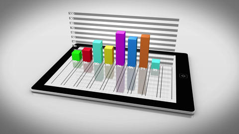 Colourful 3d bar chart on tablet pc Animation