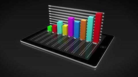 Colourful 3d growing bar chart on tablet pc Animation