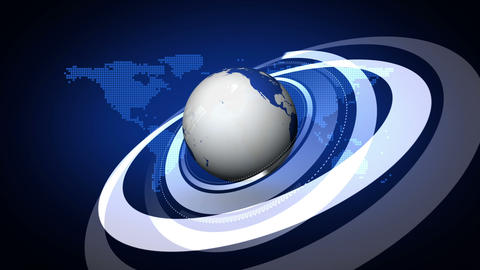 Earth rotating on blue map background Animation