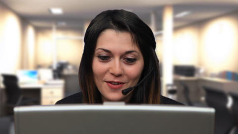 Beautiful business woman girl talk laptop chat close up Stock Video Footage