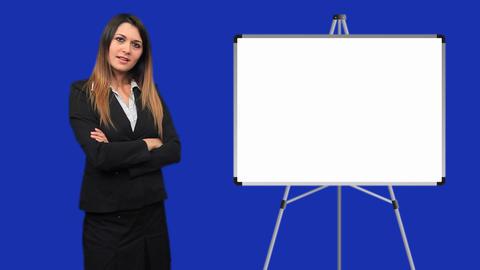 Blue screen beautiful business woman girl talk board Stock Video Footage