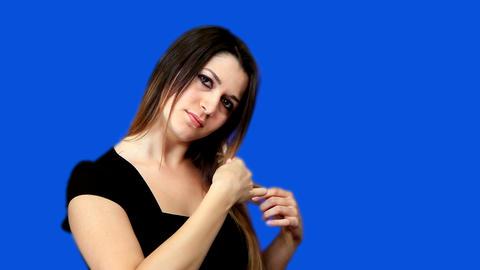 Blue screen beautiful girl comb hair Stock Video Footage
