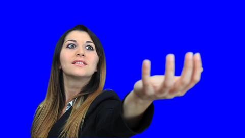 blue screen beautiful business woman girl concept holding... Stock Video Footage