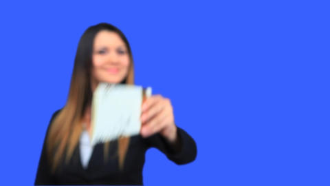 blue screen beautiful business woman girl concept invite call invitation card Footage