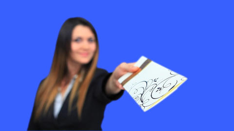 blue screen beautiful business woman girl concept invite... Stock Video Footage