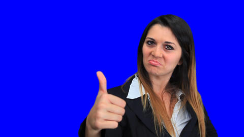 blue screen beautiful business woman girl concept sign up down good bad Footage