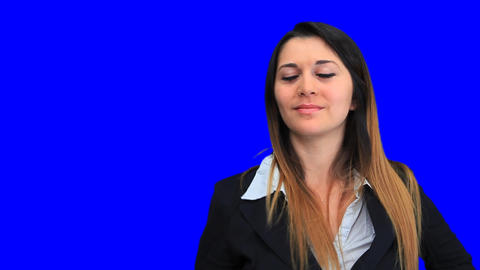 blue screen beautiful business woman girl concept sign up... Stock Video Footage