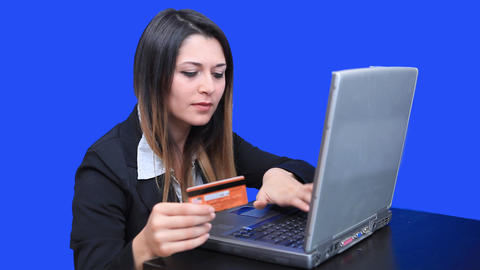 blue screen beautiful business woman girl laptop online marketing credit card Footage