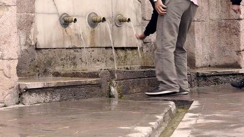 Ottoman style anatolian historical fountain people drink water Footage