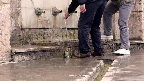 Ottoman style anatolian historical fountain people drink... Stock Video Footage