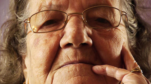 Senior old woman face wrinkle skin close up Footage