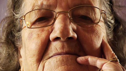 Senior old woman face wrinkle skin close up Stock Video Footage