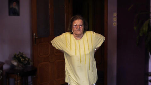 Senior old woman health pain back rheumatism Stock Video Footage
