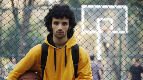 Young man play basketball streetball sport game action 2 Stock Video Footage